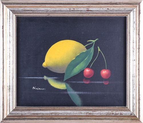 Lot 31 - A contemporary still life painting of a lemon...