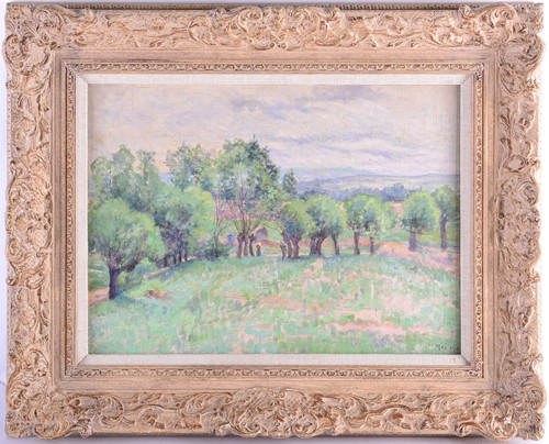 Lot 33 - An Impressionist style landscape, oil on...