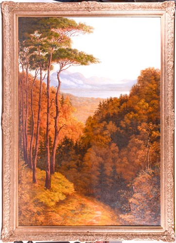 Lot 13 - A large 19th century landscape, an autumnal...