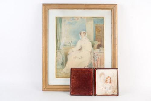 Lot 67 - 19th century school, a watercolour portrait,...