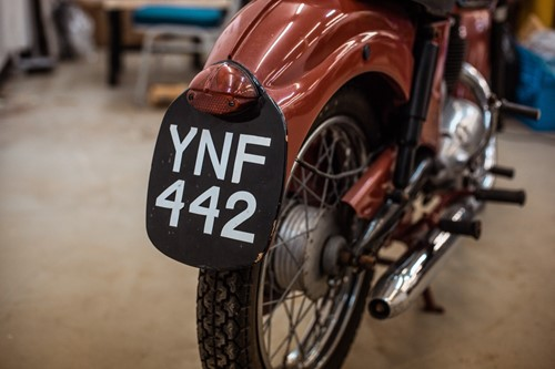 Lot 16 - A 1948 James single cylinder maroon motorcycle,...