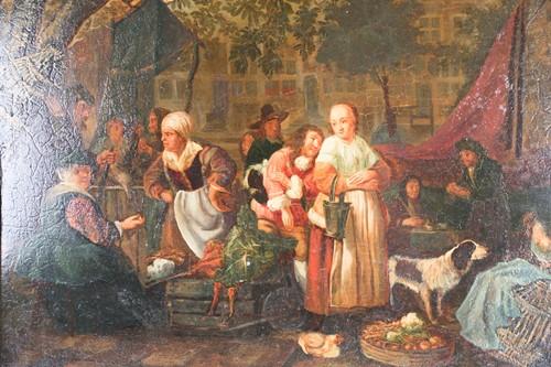 Lot 13 - Late 18th-century Dutch school, a market scene...
