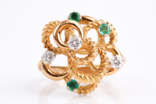 Lot 46 - An 18ct yellow gold, diamond and emerald...