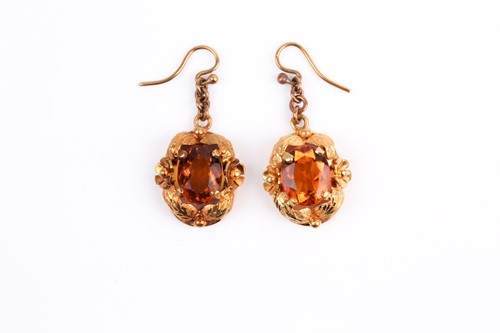 Lot 32 - A pair of yellow metal and citrine earrings,...