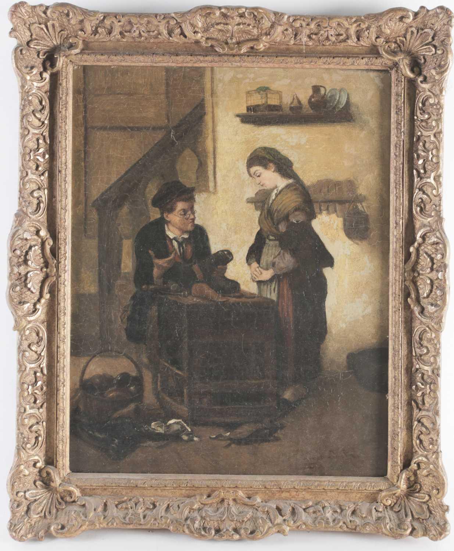 Lot 12 - 19th century Continental school, a cobbler at...