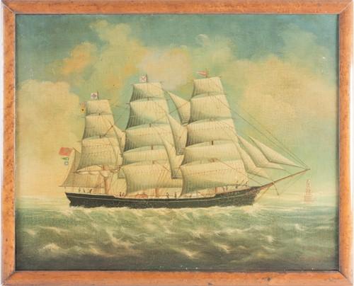 Lot 14 - J Scott (19th century), a three-masted ship...