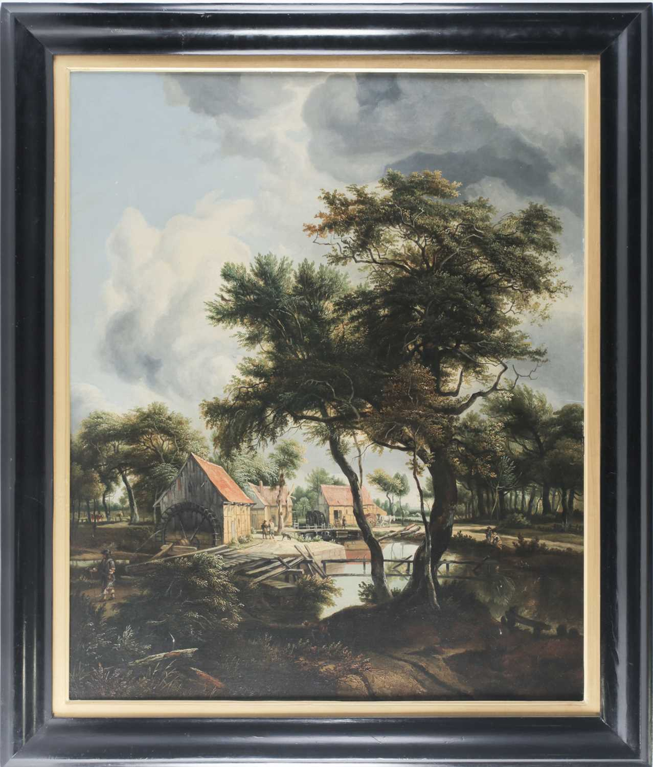 Lot 28 - Early 20th century school, a watermill in a...