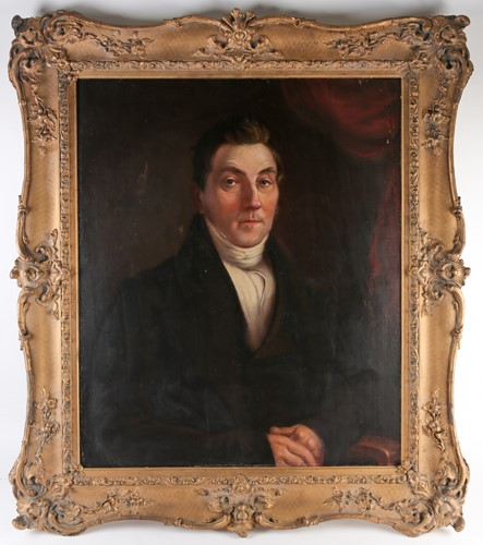 Lot 35 - 19th century school, a half-length portrait of...