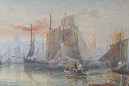 Lot 39 - 19th century school, boats in a harbour at...