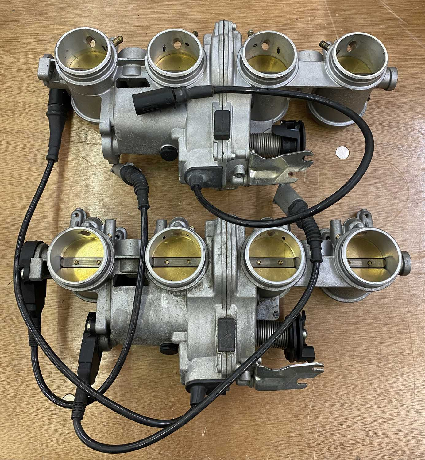 Lot 32 - Two BMW S1000RR Delorto throttle bodies. (2)