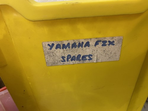 Lot 34 - A Yamaha FZX750 red panel set, two boxes of...