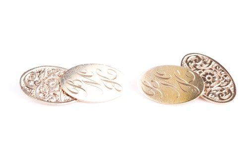 Lot 49 - A pair of 9ct yellow gold cufflinks, with oval...