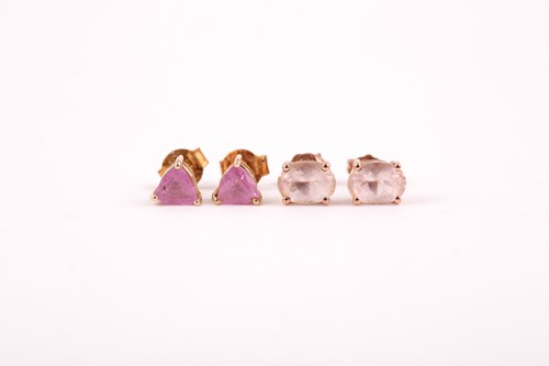 Lot 30 - A pair of trillion cut single stone pink...