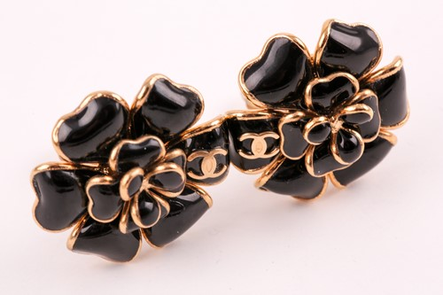 Lot 134 - Chanel. A pair of black Gripoix Camellia...