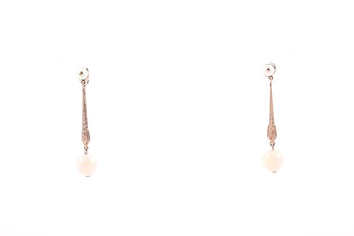 Lot 58 - A pair of 18ct gold and opal drop earrings,...