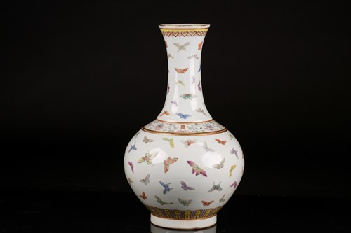 Lot 114 - A Chinese butterfly vase, Guangxu mark and...