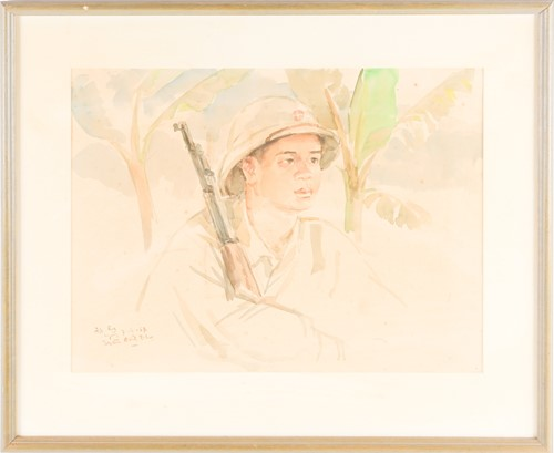 Lot 12 - Vietnam War artist, portrait of a North...