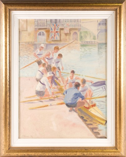 Lot 42 - Late 20th century school, 'Getting the Boat...