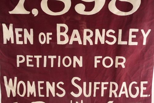 Lot 445 - A framed, painted canvas Suffragette Banner,...