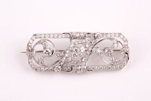 Lot 6 - A platinum and diamond plaque brooch, of...