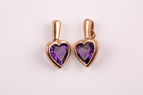 Lot 18 - A pair of 9ct yellow gold and amethyst...