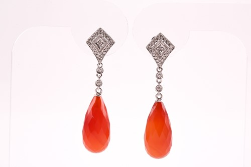 Lot 21 - A pair of diamond and carnelian drop earrings,...