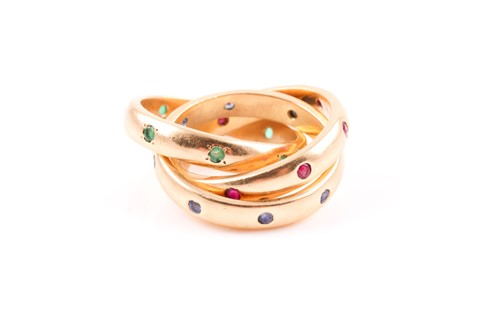 Lot 42 - An unusual 18ct yellow gold Russian-style ring,...
