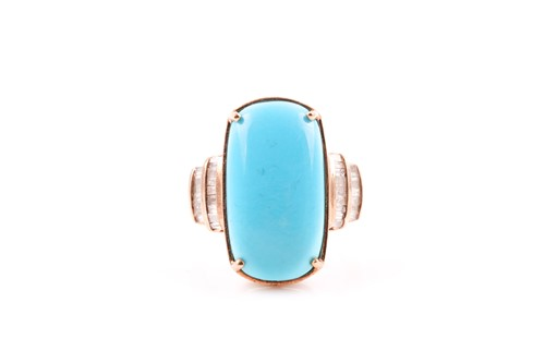 Lot 24 - A 9ct yellow gold, diamond, and turquoise ring,...