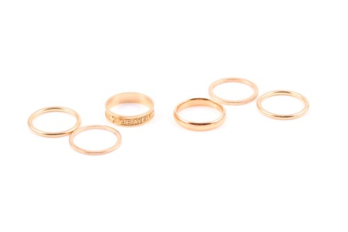 Lot 13 - A group of gold rings, including a set of four...