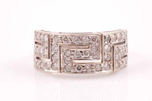 Lot 40 - An 18ct white gold and diamond set ring, in a...