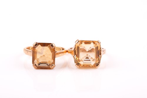 Lot 5 - A yellow metal and citrine ring, set with a...