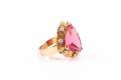 Lot 176 - An unusual yellow metal, diamond, and pink...