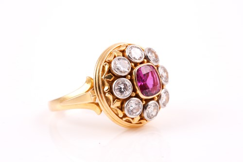 Lot 142 - An 18ct yellow gold, diamond and sapphire...
