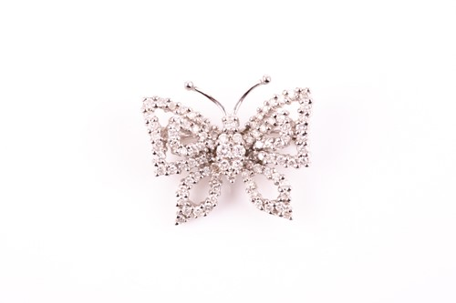 Lot 35 - An 18ct white gold and diamond butterfly...