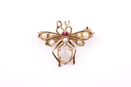 Lot 20 - A gilt metal, moonstone, and pearl insect...
