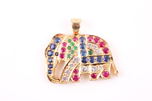 Lot 23 - A 14ct yellow gold, sapphire, ruby, and...