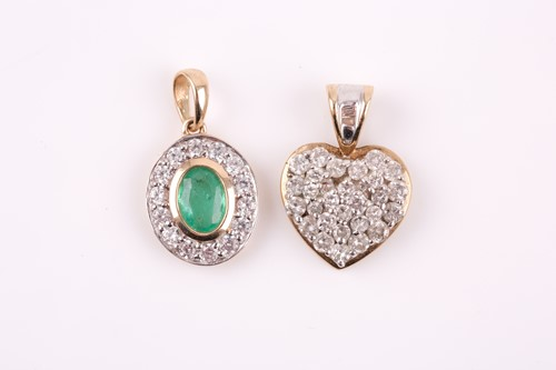 Lot 10 - A 9ct yellow gold and diamond heart-shaped...