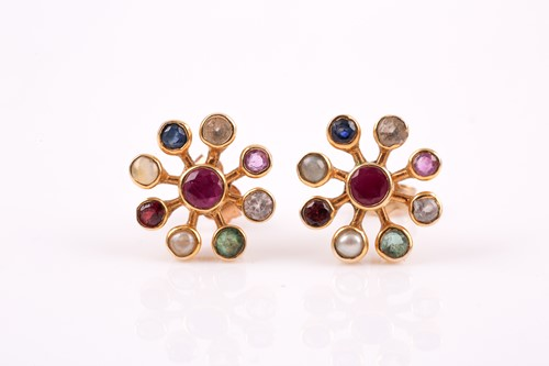 Lot 7 - A pair of yellow metal and multi-gem earrings,...
