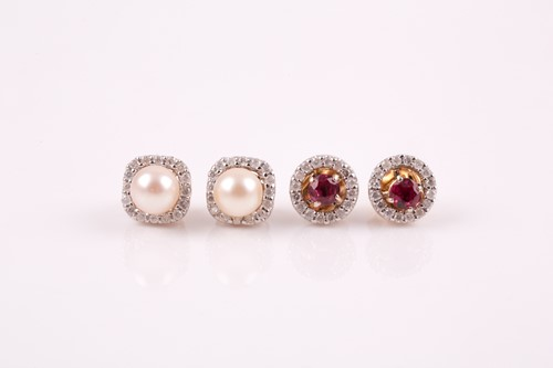 Lot 17 - A pair of yellow metal, diamond, and ruby...