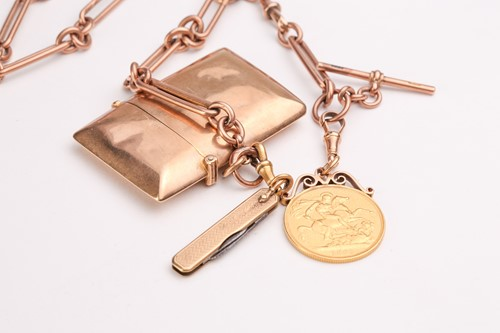 Lot 349 - A 9ct rose gold watch chain, suspending a...