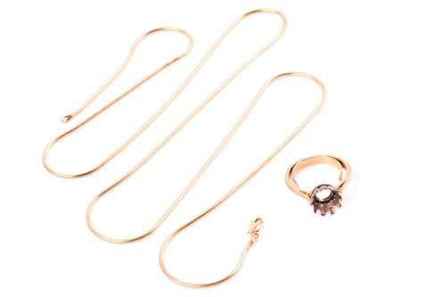Lot 39 - An Italian 18ct yellow gold snake-link chain...