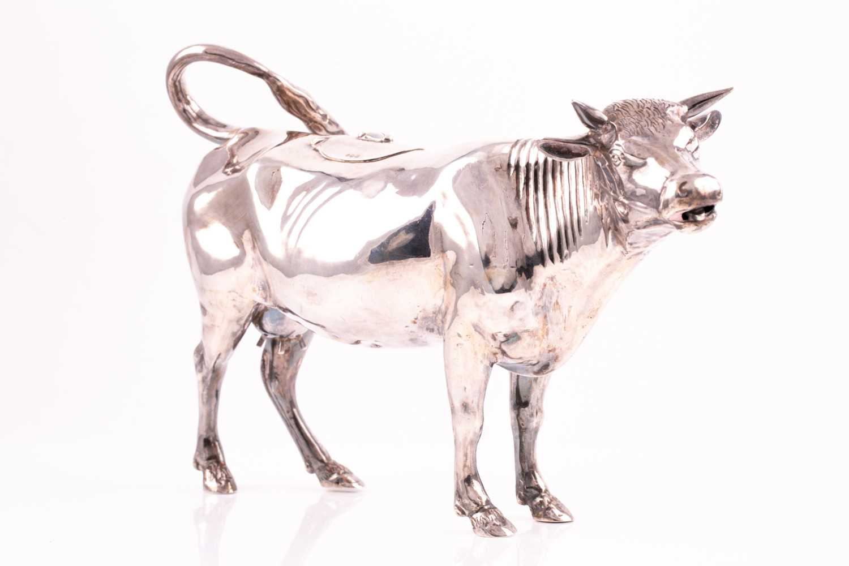 Lot 490 - A large 19th century Dutch silver cow creamer,...