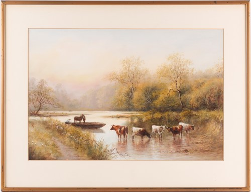 Lot 36 - 20th century British school, a group of cattle...