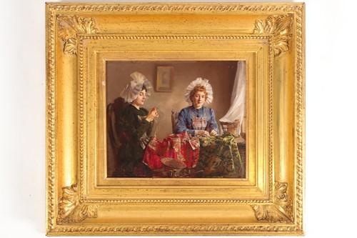 Lot 11 - Claude Hugard (French, b 1861), ladies sewing,...