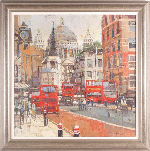 Lot 31 - Robert Wells, London street with St Pauls in...