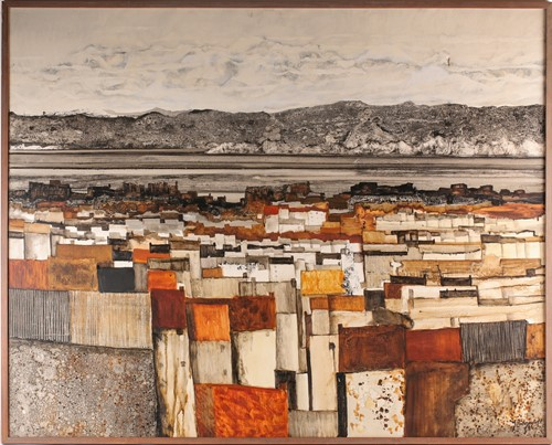 Lot 63 - Richard Ridgewell, Townscape 2, oil on canvas,...
