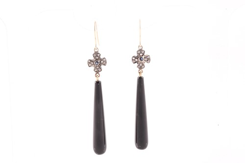 Lot 71 - A pair of diamond and onyx drop earrings, with...