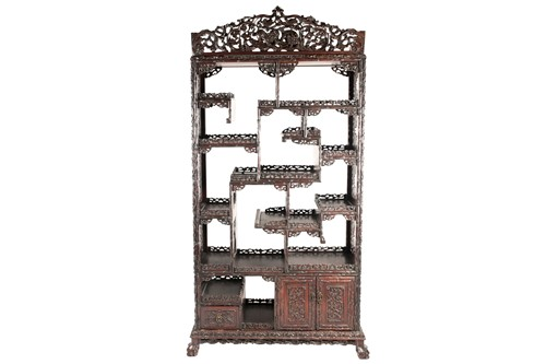 Lot 126 - A Chinese hongmu open cabinet, early 20th...