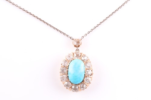 Lot 22 - A diamond and turquoise cluster pendant, set...