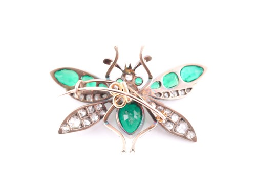 Lot 158 - A Victorian diamond and emerald insect brooch...